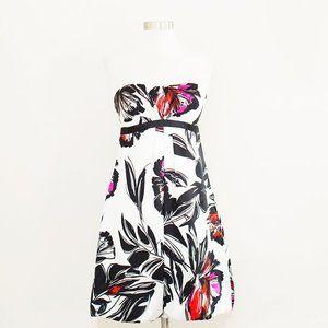 Cache Silk Floral Print Strapless Dress 4